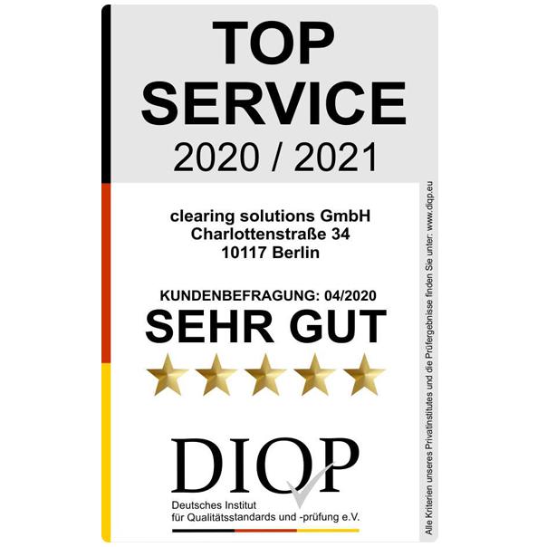 Vom deutschen Institut für Qualitätsstandarts und -prüfung als Top Service 2020 / 2021 ausgezeichnet